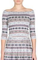 Alexander McQueen Off-The-Shoulder Fair Isle Knit Top