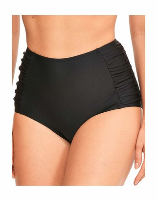 Figleaves Womens Rene High Waisted Ruched Tummy Control Black Bikini Bottom Size 14 in Black
