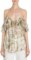Alexander McQueen Ruffled Floral-Print Silk Cold-Shoulder Top