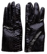 Brunello Cucinelli Python Leather-Trim Gloves