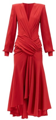 Alexandre Vauthier Plunge-neck Ruched Silk-blend Jersey Dress - Red