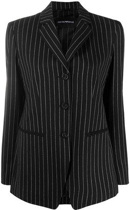 Emporio Armani Striped Single Breasted Blazer