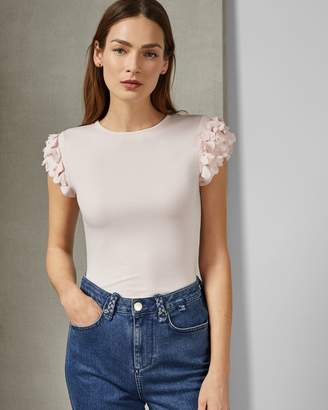 Ted Baker Floral Applique Sleeve T-shirt