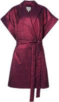 DELPOZO belted shortsleeved coat - women - Polyamide/Polyester/Acetate/Metallic Fibre - S