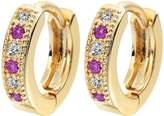 Newyuan Colorful Classic Baby CC Hoop Earrings Zirconia Earring for Baby Teen Girls