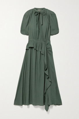 Ulla Johnson Leah Draped Ruffled Crepe Midi Dress - Gray green