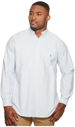 Polo Ralph Lauren Big & Tall Big Tall Oxford Sportshirt (Blue/White Stripe) Men's Clothing