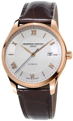 Frederique Constant Classics Index Automatic Stainless Steel and Leather Strap Watch