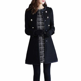 jerferr Winter Women Warm Outwear Wool Lapel Trench Parka Coat Jacket Overcoat StylsihWi Black