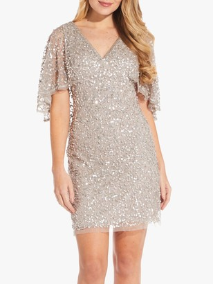 Adrianna Papell Short Beaded Dress, Marble