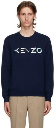 Kenzo Navy Wool Logo Sweater