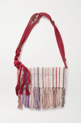 Isabel Marant Marakoo Rope-trimmed Fringed Printed Cotton-gauze Shoulder Bag - Red