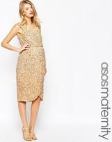 Asos Wrap Front Sequin Midi Dress