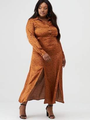 AX Paris Curve Satin Printed Maxi Shirt Dress - Rust