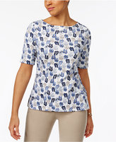 Karen Scott Elbow-Sleeve Sandals-Print Top, Only at Macy's