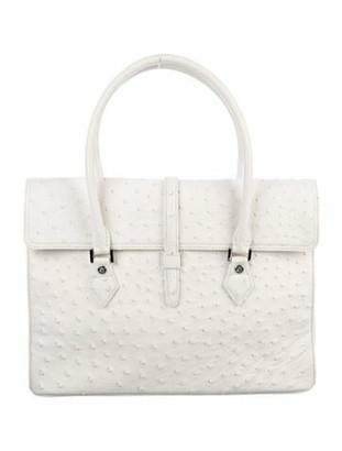 Brooks Brothers Ostrich Tote White