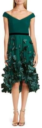 Marchesa Floral Applique High/Low Cocktail Dress