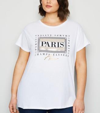 New Look Curves Paris Metallic Box Slogan T-Shirt