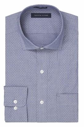 Tommy Hilfiger Men's Dress Shirt Regular Fit Stretch Solid