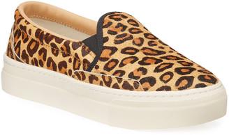 Soludos Bondi Leopard-Print Calf Hair Slip-On Sneakers