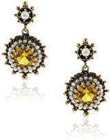 One Kings Lane Vintage Gold Crystal & Pearl Dangle Earrings
