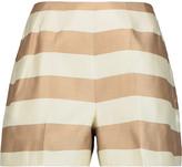 Tibi Striped silk-twill shorts