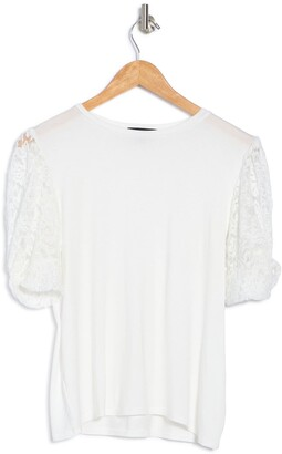 Gibson Lace Contrast Puff Sleeve Top