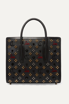 Christian Louboutin Paloma Medium Embellished Textured-leather Tote - Black