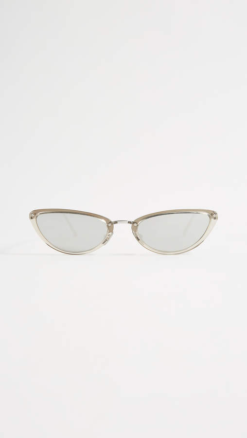 Linda Farrow Luxe Platinum Extreme Cat Eye Sunglasses