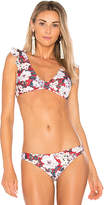 MinkPink Marlena Floral Top in Burgundy Multi. - size M (also in S,XS)
