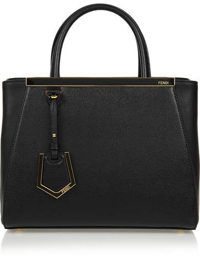 Fendi 2jours Small Textured-leather Tote - Black