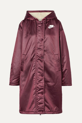 Nike Oversized Hooded Printed Padded Satin Jacket - Merlot