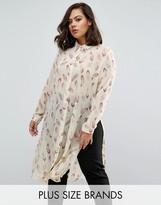 Koko Plus Longline Shirt In Feather Print