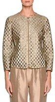 Giorgio Armani Perforated Leather Bracelet-Sleeve Jacket, Beige