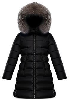 Moncler Girls' Abelle Fur Trim Down Puffer Coat - Big Kid