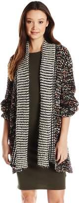 Paper Crane Papercrane Women's Juniors Multi-Color Yarn Cardigan Sweater