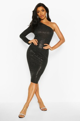boohoo Sequin One Shoulder Midi Christmas Party Dress