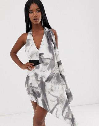 Asos DESIGN Tie dye drape detail mini dress with contrast belt