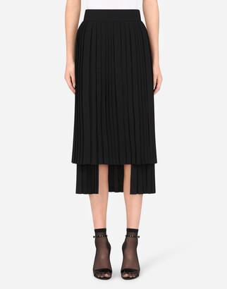 Dolce & Gabbana Asymmetrical Pleated Cady Skirt