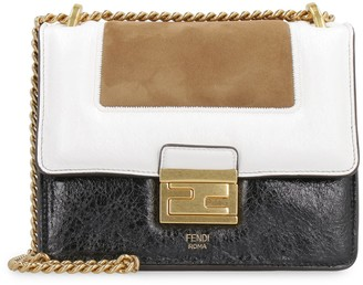 Fendi Kan U Leather And Suede Crossbody Bag