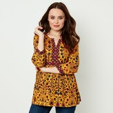 Joe Browns Floral Print V-Neck Blouse with 3/4 Length Sleeves