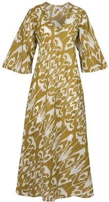 AtLAST Anna Cotton Dress- Olive Ikat