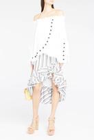 Caroline Constas Stripe Ruffle Pencil Skirt