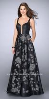 La Femme Plunging Floral Print A-line Open Back Prom Dress