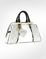 Quilted White & Black Leather Trim Bauletto Bag