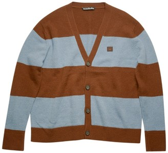 Acne Studios Brown And Blue Striped Cardigan