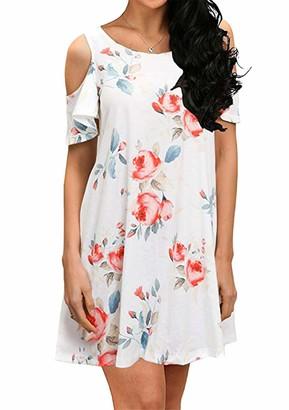 YMING Women Crew Neck Floral Tunic Tops Casual Printed Straight Dress Sexy Summer Mini Dress Black ChrysanthemumL