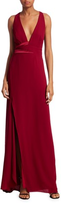 Halston Asymmetric Drape Sleeveless V-Neck Gown