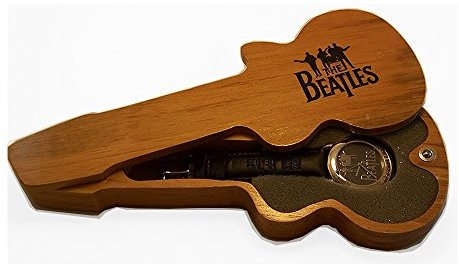 Apple The Beatles腕時計シルバーonグレーロゴWatch in Woodenギターディスプレイケース