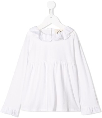 Douuod Kids frill-trim long-sleeve blouse